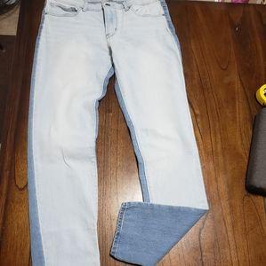 Levis 711 skinny Light wash color block jeans 29
